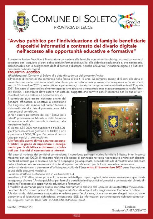 """Avviso pubblico per l'individuazione di famiglie beneficiarie dispositivi informatici a contrasto del divario digitale nell'accesso alle opportunità educative e formative"""""""